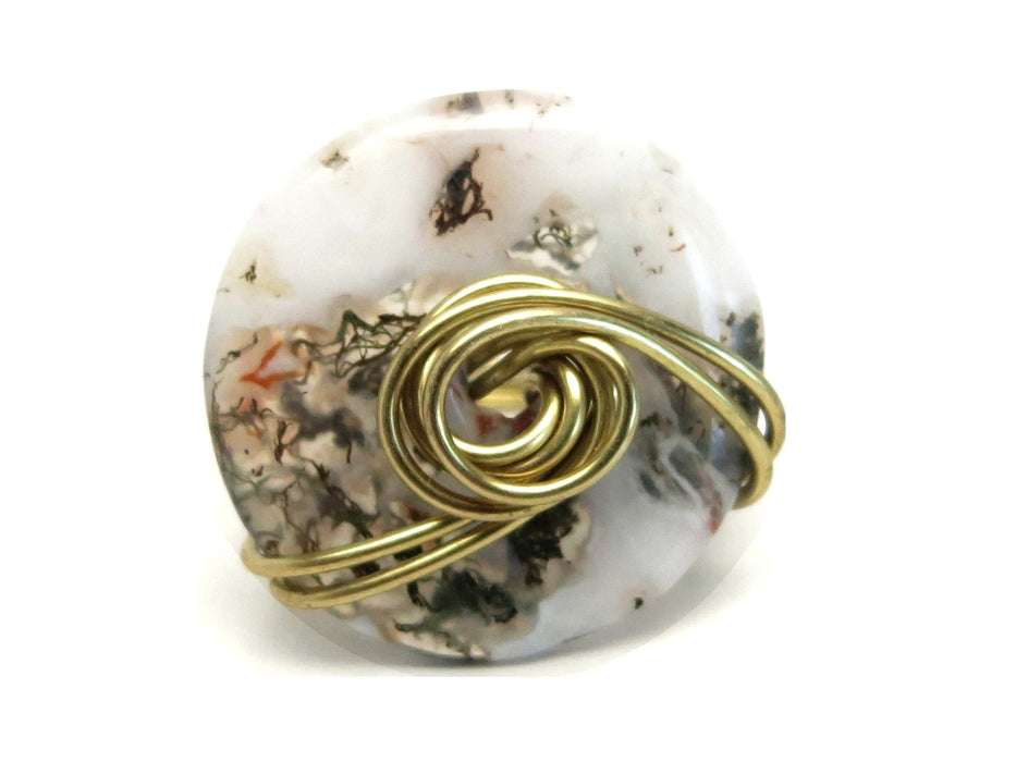 Agate Moss Ring White Stone Green Inclusions Natural Donut Size 7
