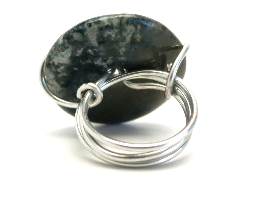 Agate Moss Ring 5.5 Specialty One-of-Kind Dark Green Donut Stone Silver Wire Wrapped Statement S02