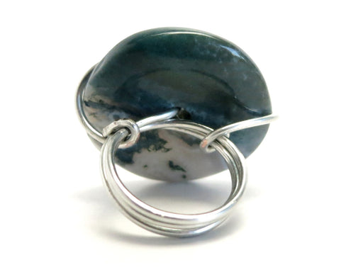 Agate Moss Ring 5.75 Specialty One-of-Kind White River Dark Green Donut Stone Silver Wire Wrapped S03