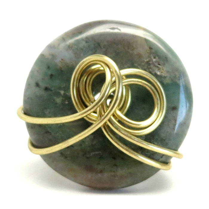 Agate Moss Ring Green Red Donut Circle Stone Gold Wire Wrapped
