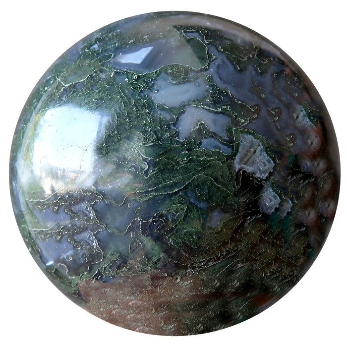 clear and green moss agate sphere