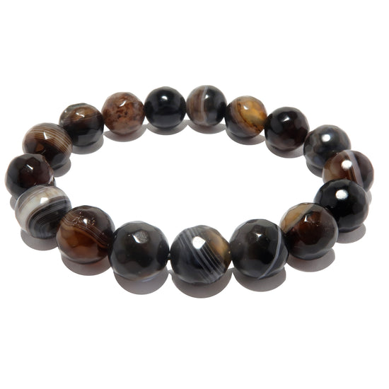 Beads are round and faceted. Three natural red and black banded agate beaded stretch bracelets