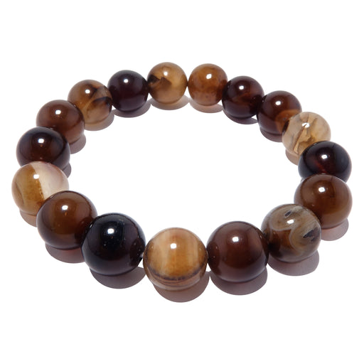 Agate Picture Bracelet 9mm Smooth Round Coffee Brown Black Stretch