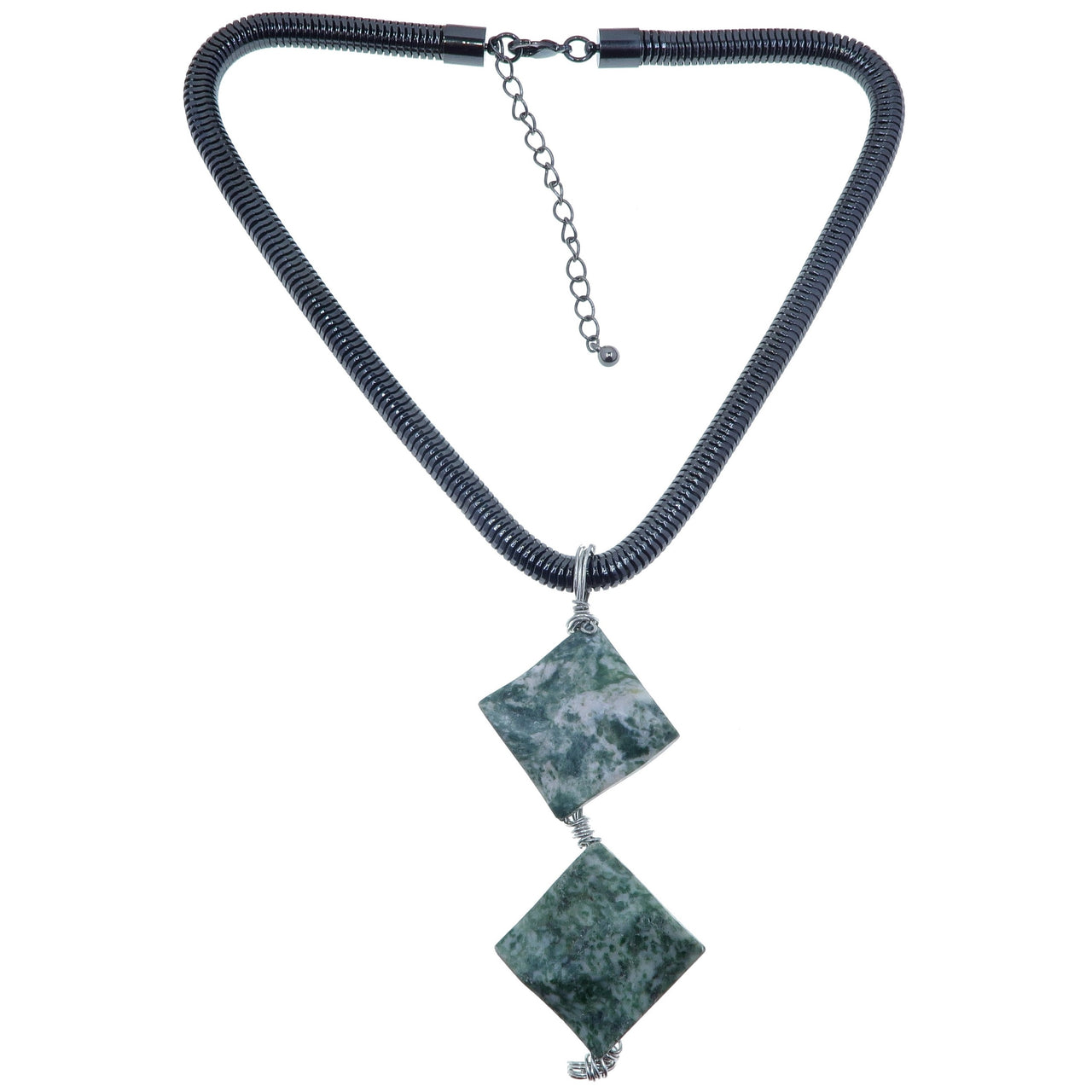 "Agate Tree Necklace 17-20"" Specialty One-of-Kind Thick Gunmetal Green Stone Statement S01"