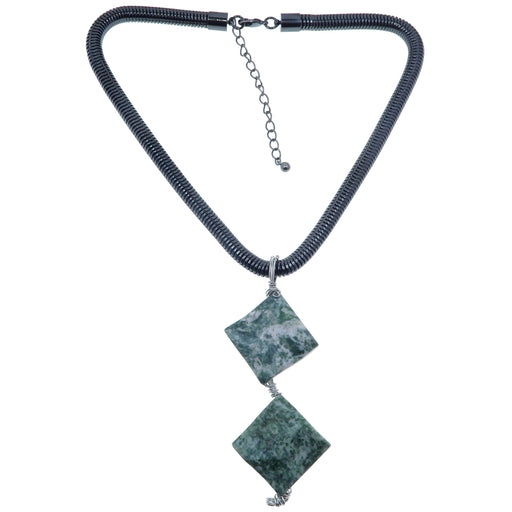 Agate Tree Necklace One-of-Kind Thick Gunmetal Green Stone Statement
