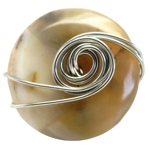 Agate Yellow Ring 6.5 Specialty One-of-Kind Big Statement Stone Crystal Silver Wire Wrapped S01