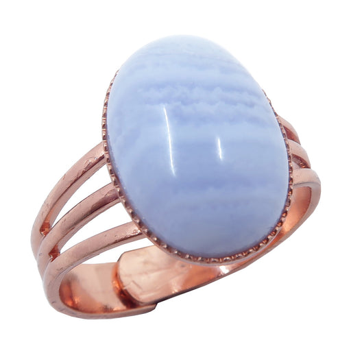 blue lace agate oval copper adjustable ring