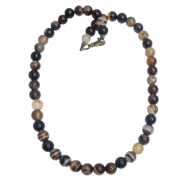 Agate Black Necklace Boutique Round Brown Black Gemstone Beaded Unique Banded B01