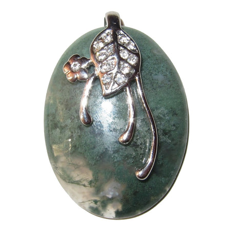 "Agate Pendant Moss 01 Clear Green Oval Crystal Silver Flower Leaf Nature Lover Stone 1.7"" (Gift Box)"