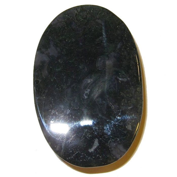 "Agate Polished Stone Moss 2.4"" Collectible Top Quality Green Blue Palm Crystal Oval Rock C02a"