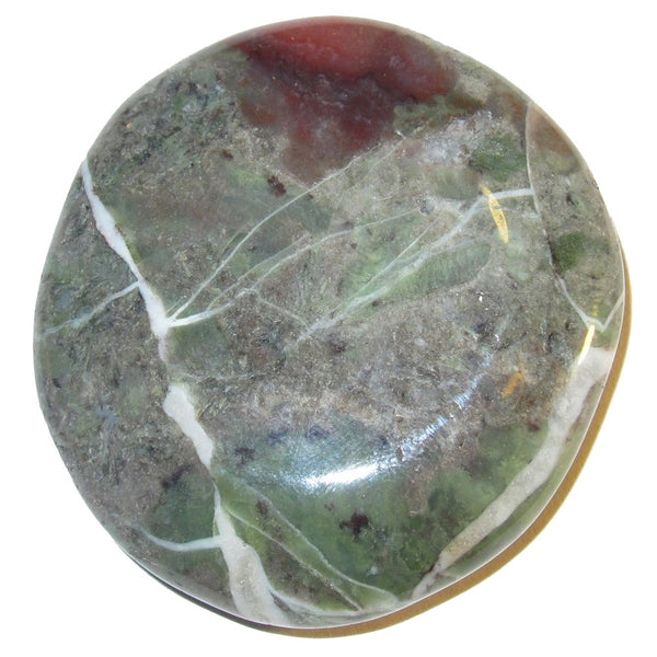 "Agate Polished Stone Moss 1.8"" Collectible Rocky Slab Red Green Gray Picture Perfect Healing Crystal C50"