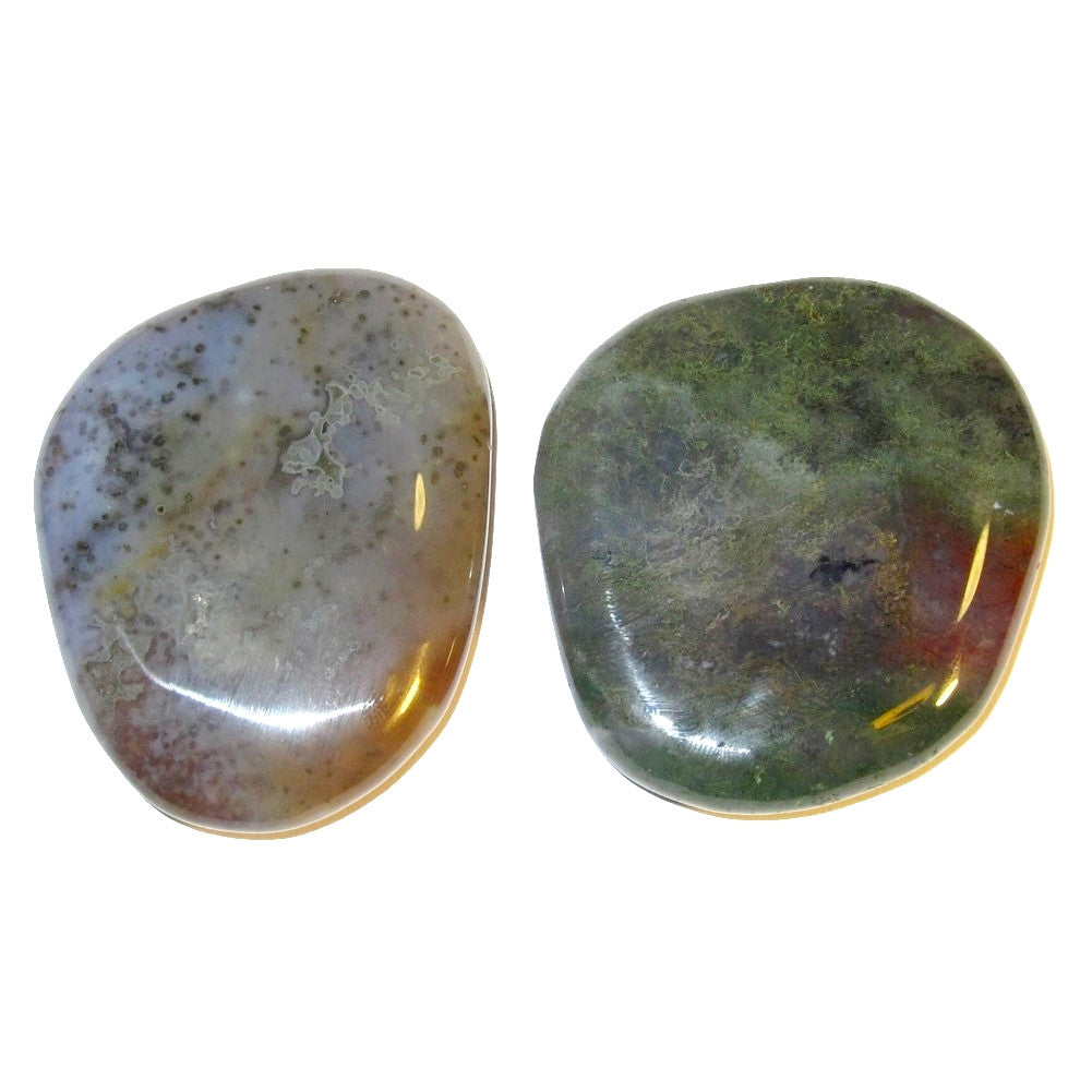 "Agate Polished Stone Moss 51 Pair of Stellar Beautiful Lavender Green & Red Crystal Chi Force Slabs 2.1"" (Gift Box)"