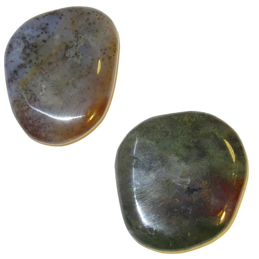 "Agate Polished Stone Moss 2.1"" Collectible Pair of Stellar Beautiful Lavender Green & Red Crystal Chi Force Slabs C51"