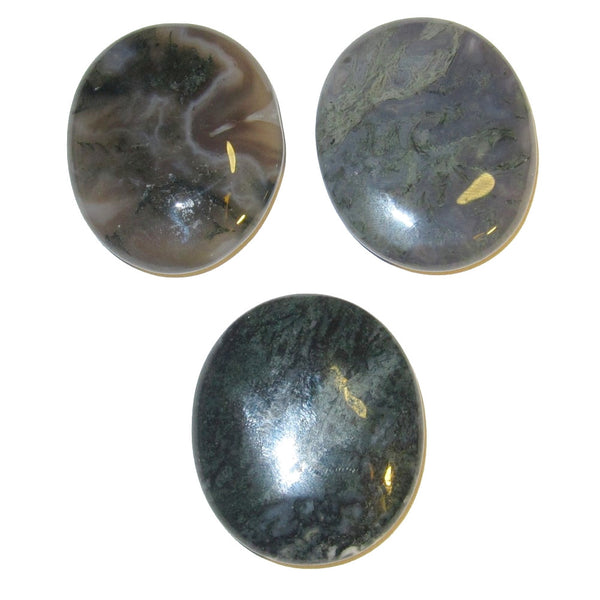 "Agate Polished Stone Moss 1.6"" Collectible Set of 3 Green Crystal Layout Energy Body Therapy Slabs C54"