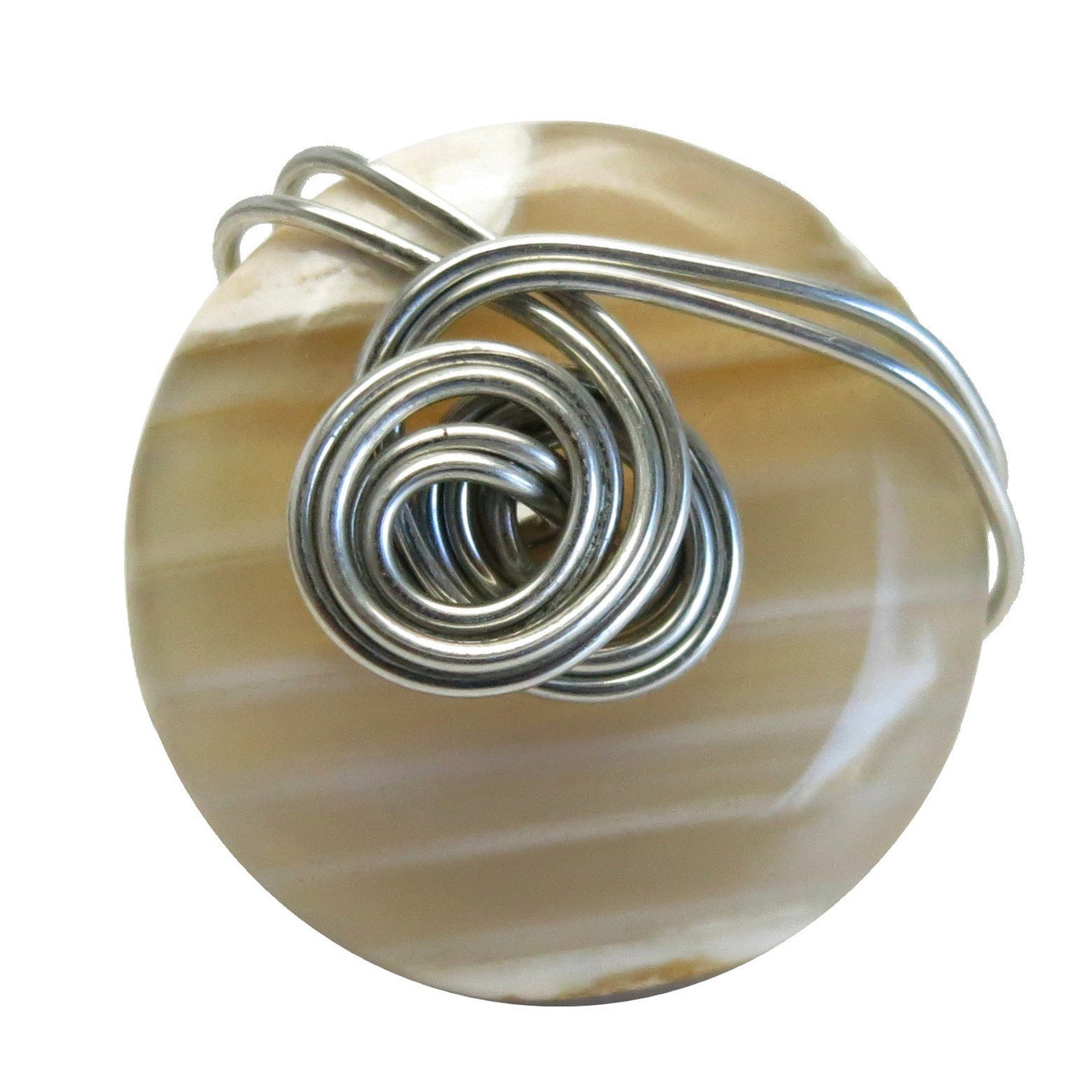 Agate White Ring 7.25 Specialty One-of-Kind Banded Stone Crystal Healing Silver Wire Wrapped Donut S01