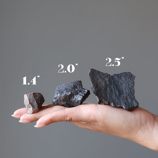 hand holding three agoudal meteorites to show that sizes vary