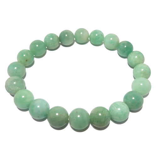blue green round amazonite beaded stretch bracelet