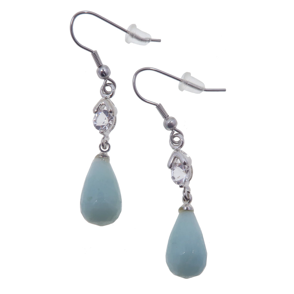 "Amazonite Earrings 2"" Sea Blue-Green Faceted Drop Crystals Elegant Healing Dangle"