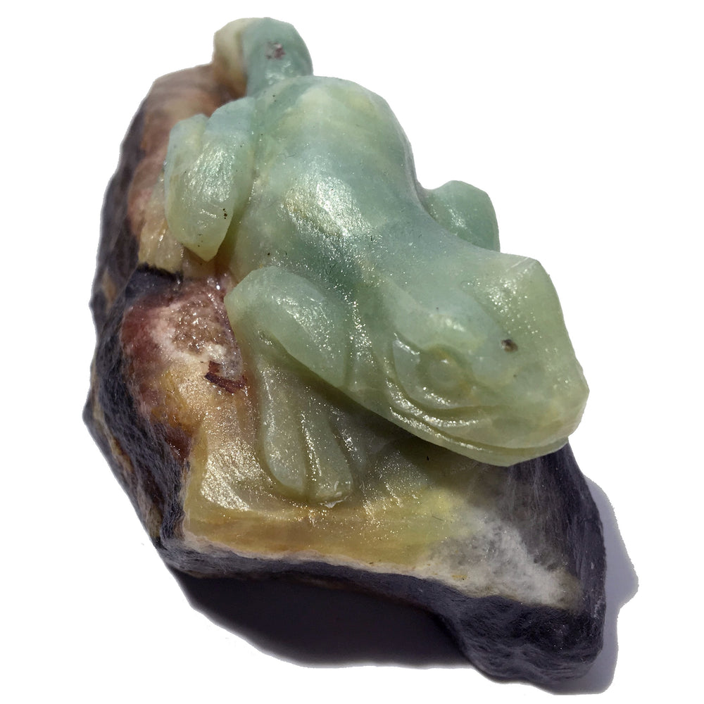 "Amazonite Animal Salamander 3.2"" One-of-Kind Blue Gemstone Frog Figurine"