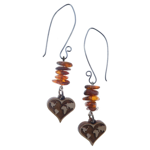 large sterling silver earring wires beaded with amber nugget beads and dangling with wood heart world map charms
