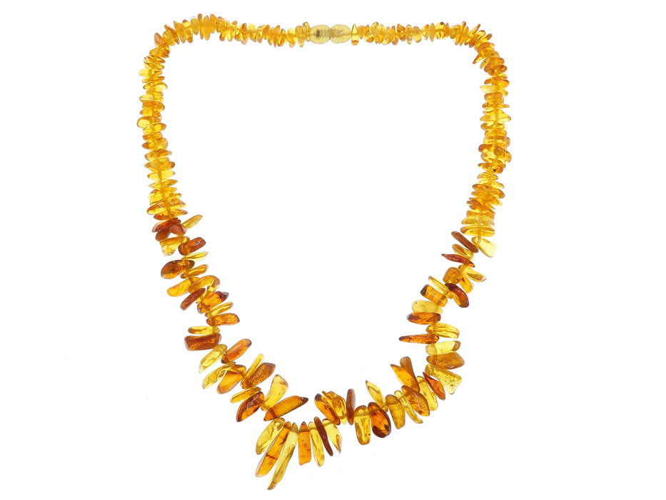 "Amber Necklace 17"" Boutique Genuine Lithuana Gemstone Yellow Orange Fanfare B02"