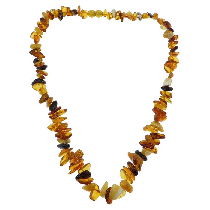 "Amber Necklace 18"" Autumn Yellow Orange Beaded Genuine Gemstone Baltic"