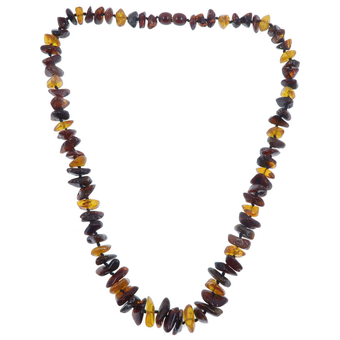 "Amber Necklace 20"" Multi-color Yellow Red Orange Black Knotted Baltic"