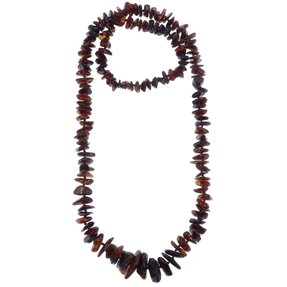 "Amber Necklace 26"" Deep Red Honey Baltic Polish Gemstone Knotted Long B07"