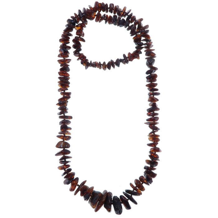 "Amber Necklace 26"" Deep Red Honey Baltic Polish Gemstone Knotted Long"