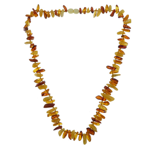 Amber Necklace Multi-Colored Yellow Orange Red Baltic Gemstone Knotted B09