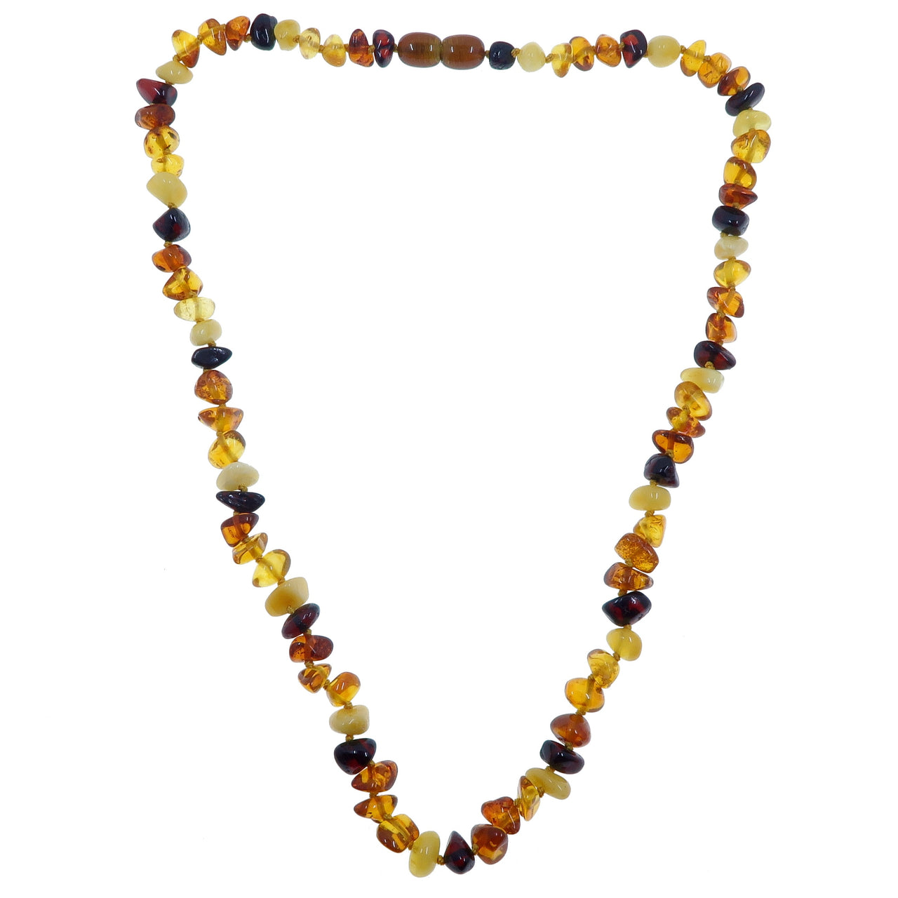 "Amber Necklace 19"" Boutique Multi-Colored Yellow Orange Red Baltic Gemstone Knotted B10"
