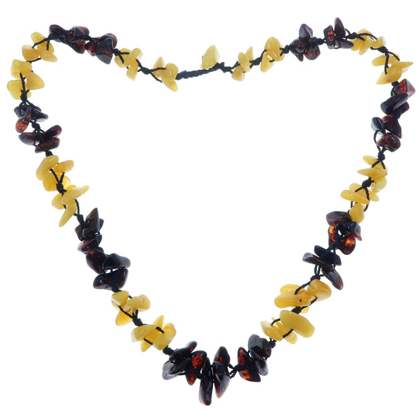 "Amber Necklace 18"" Boutique Genuine Yellow Red Triple Knot Flower Bundle Gemstone Healing B15"