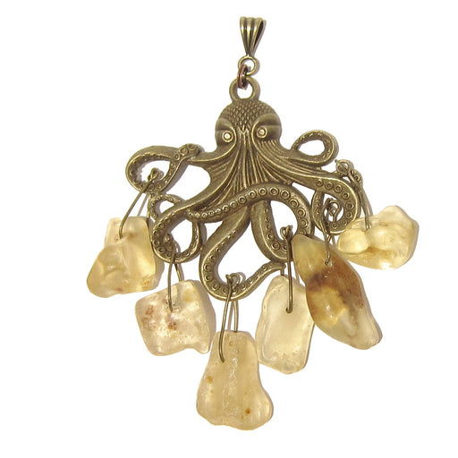 "Amber Pendant 3.7"" Big Octopus Genuine Yellow Gemstone Brass Animal"