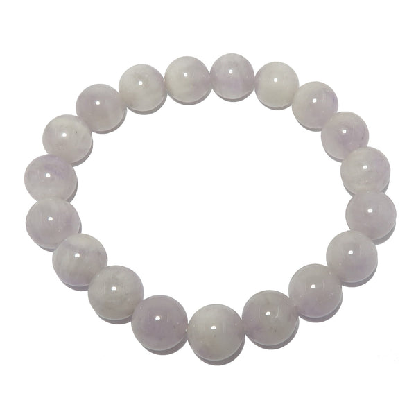 Amethyst Lavender Bracelet 9mm Rosy Purple Soothing Genuine Round Stretch Stone B02