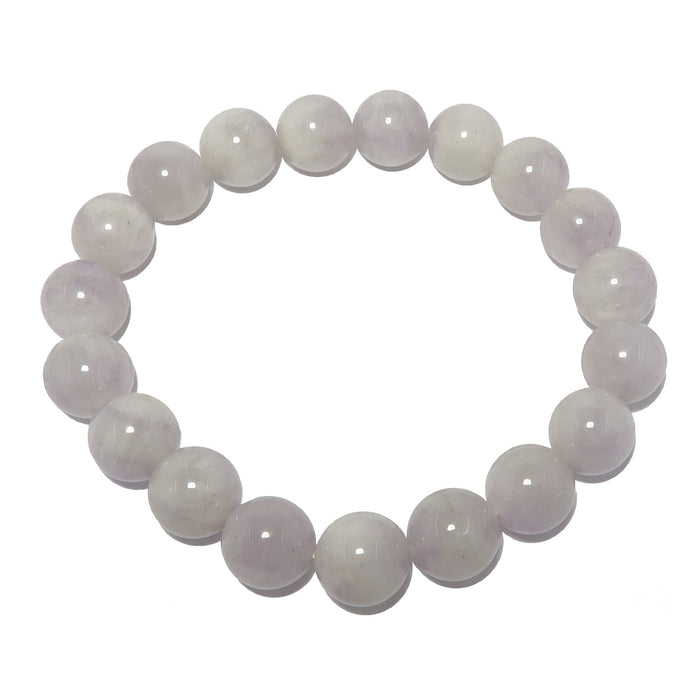 light purple lavender amethyst gemstone beaded stretch bracelet