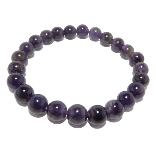 dark purple amethyst gemstone round beaded stretch bracelet