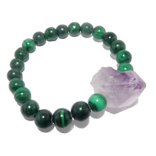 genuine raw amethyst point and green malachite stretch bracelet, beaded with natural stones on elastic jewelry at satin crystals.