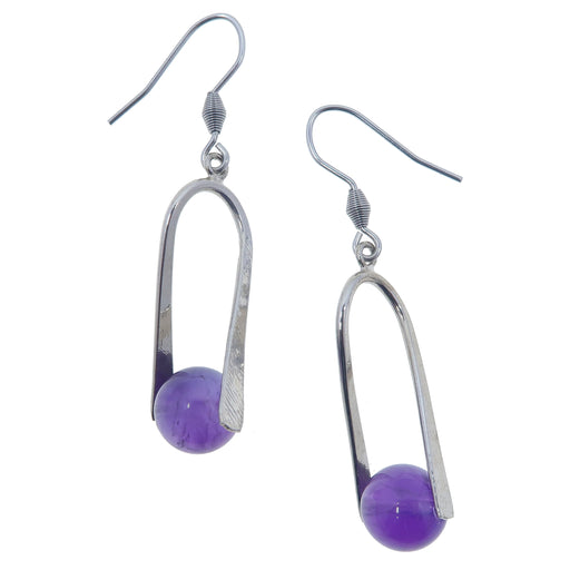"Amethyst Earrings 2"" Dark Purple Crystal Stone Orbs Silver Spiritual Tuning Fork Dangle"