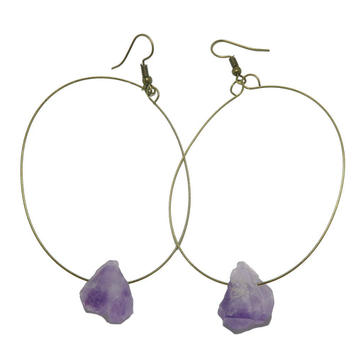 raw amethyst stones on brass hoop earrings