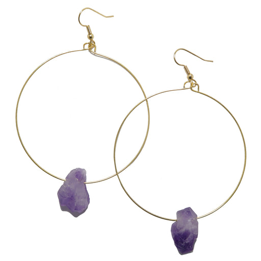 Amethyst Gold Hoop Earrings Raw Purple Point Natural Gemstone