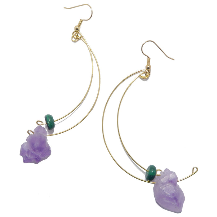 Amethyst Malachite Earrings Raw Purple Green Stone Gold Dangle