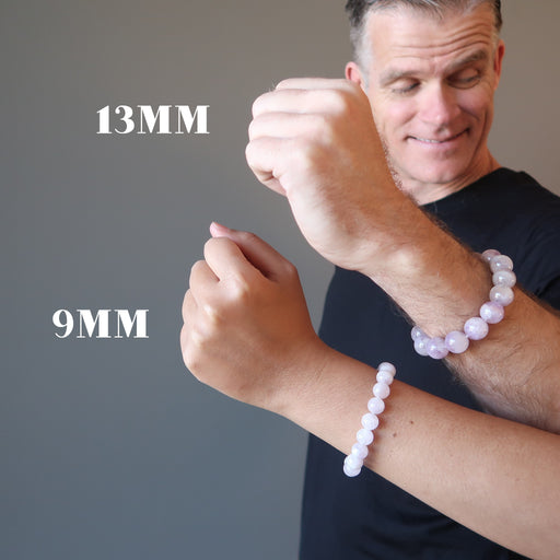 man and woman modeling lavender purple amethyst bracelets in 9mm and 13mm