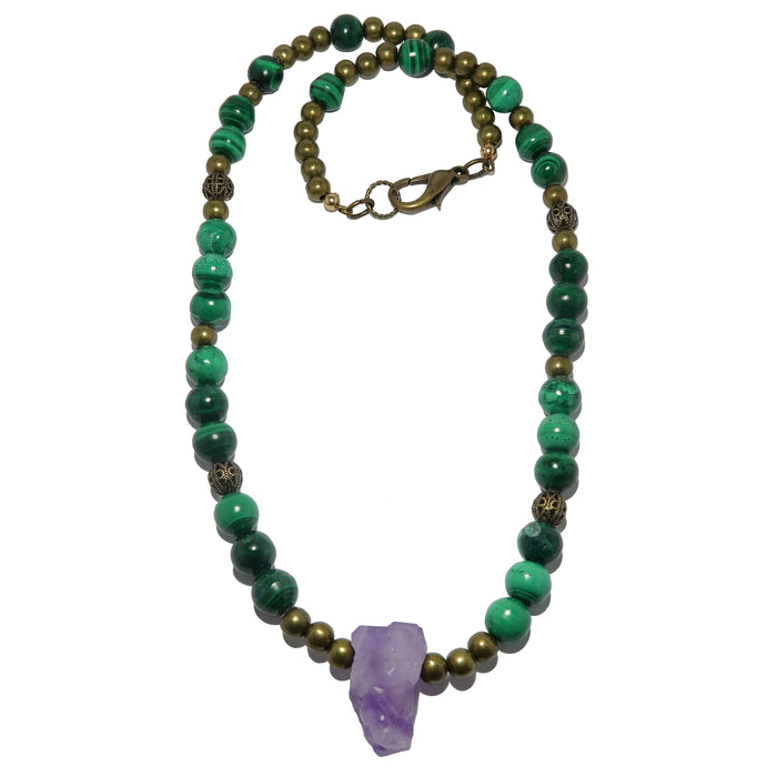 Amethyst Malachite Necklace Raw Purple Point Green Gemstone Beaded