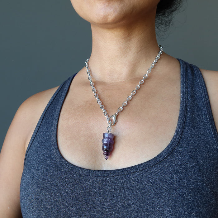 Amethyst Pendulum Necklace Carved Purple Gemstone Point Adjustable Length