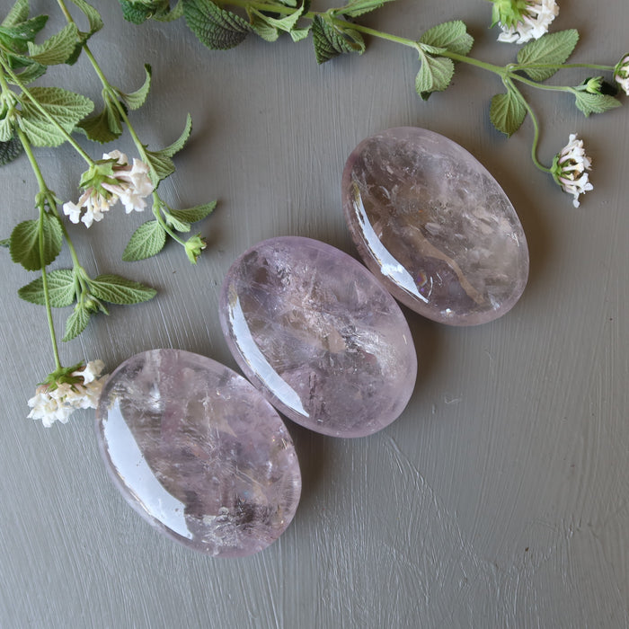 3 translucent purple oval polished palm stones