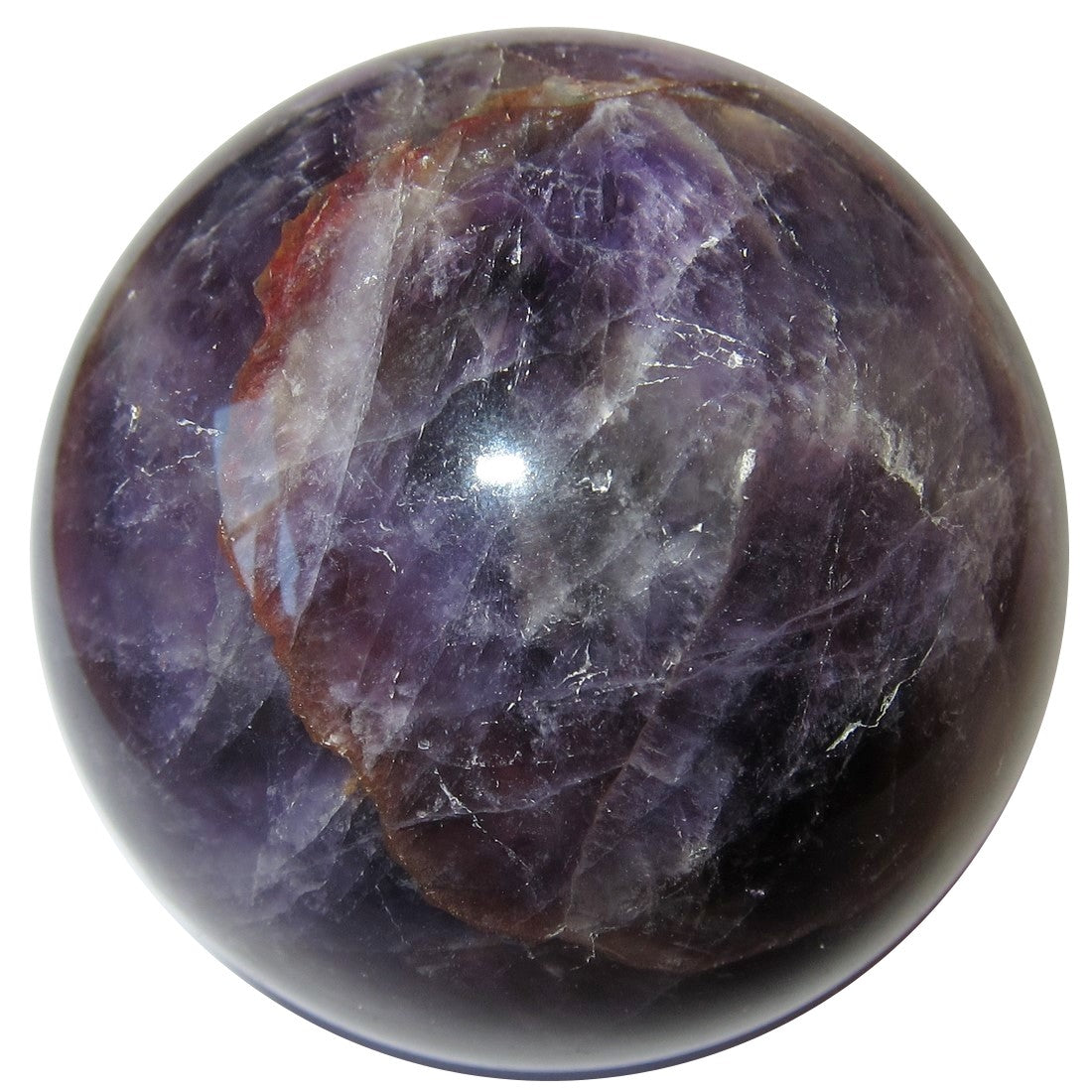 Uruguay amethyst sphere has a deeper purple color with striking red iron minerals and is offered by Satin Crystals