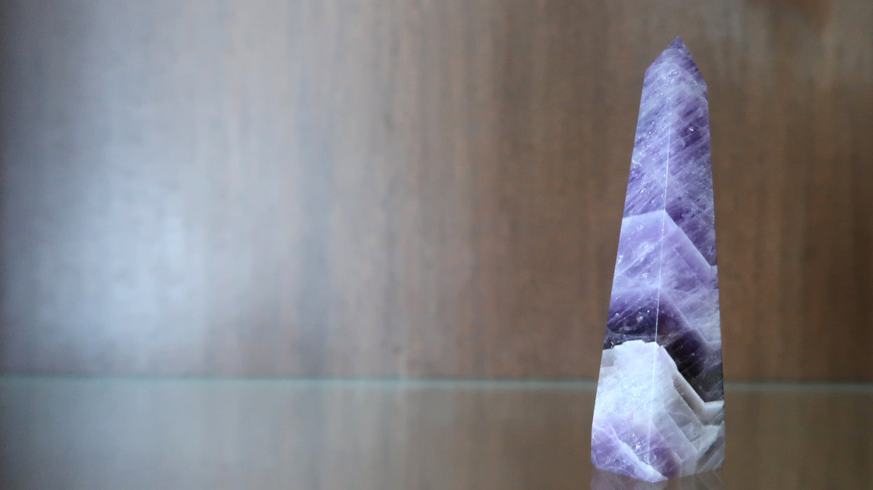 "Amethyst Chevron Wand 3.5"" Purple Crystal Point Stone Tower"