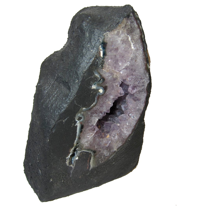 "Amethyst Geode 4.6"" Collectible Purple Point Deep Meditation Cave Stone Standing Desk Office Home Display Gem C13a"