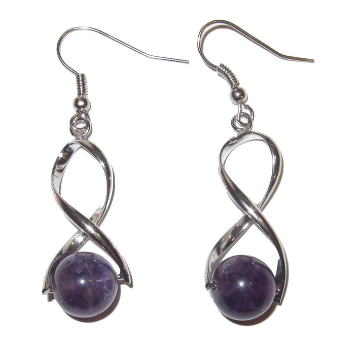 "Amethyst Earrings 1.8"" Purple Gemstone Crystal Energy Catcher Silver Twist Design 01"