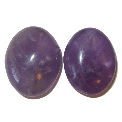 pair of purple amethyst polished ovalish palm stones